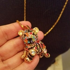 Betsey Johnson necklace Tiger poseable colorful